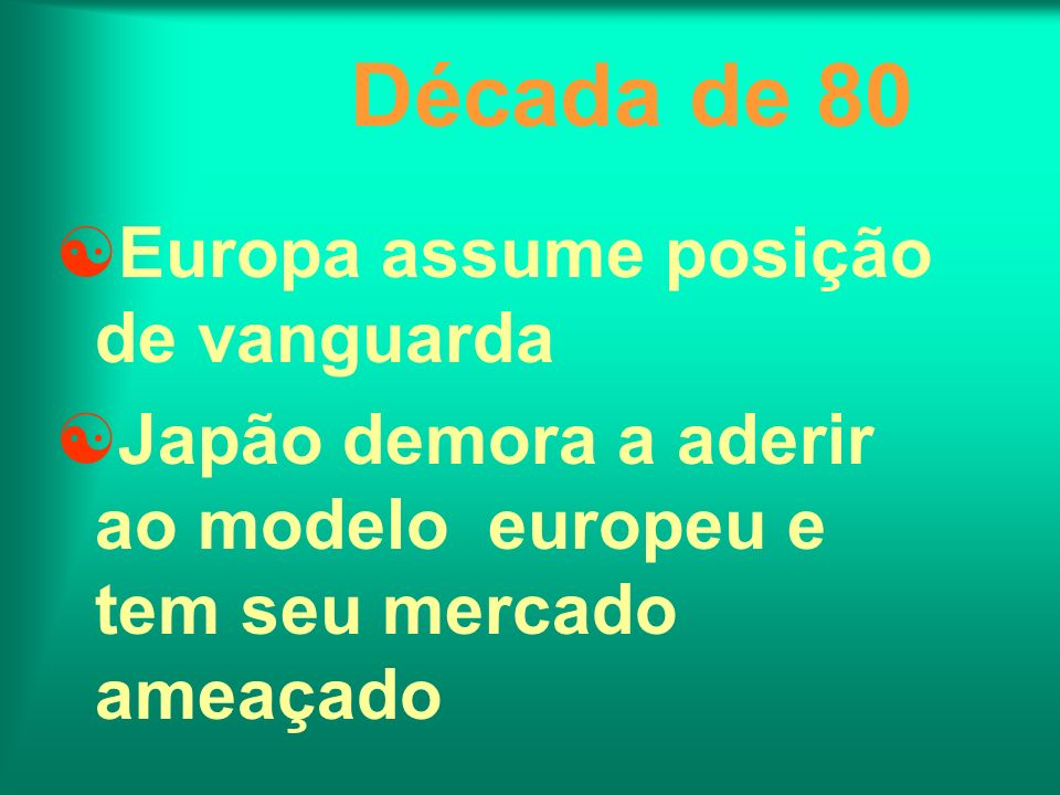 Década de 80 Europa assume posição de vanguarda Japão demora a aderir ao modelo europeu e tem seu mercado ameaçado
