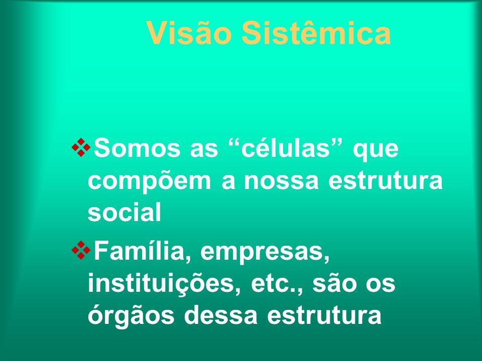 Visão Sistêmica Somos as células que compõem a nossa estrutura social Família, empresas, instituições, etc., são os órgãos dessa estrutura
