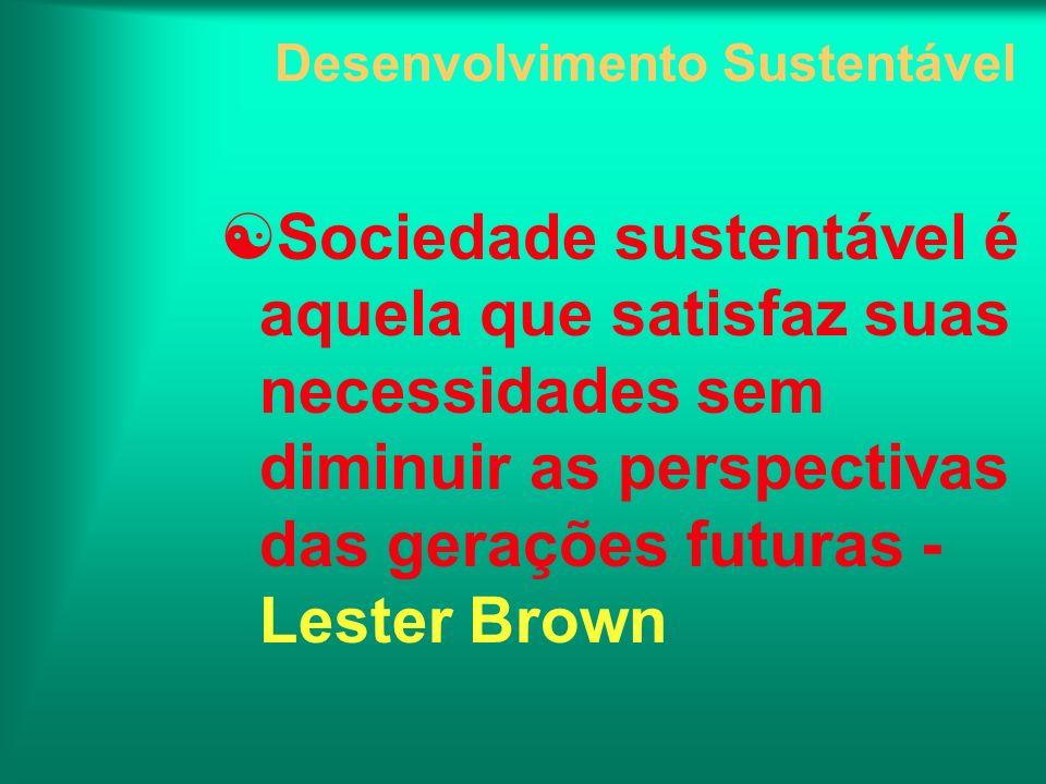 Desenvolvimento Sustentável Sociedade sustentável é aquela que satisfaz suas necessidades sem diminuir as perspectivas das gerações futuras - Lester B