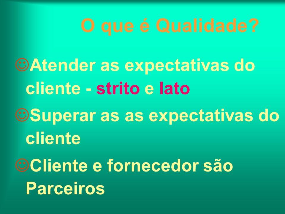 O que é Qualidade? Atender as expectativas do cliente - strito e lato Superar as as expectativas do cliente Cliente e fornecedor são Parceiros