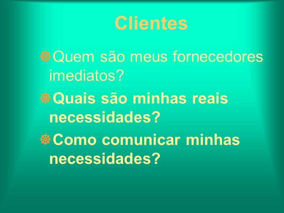 Clientes ]Quem são meus fornecedores imediatos? ]Quais são minhas reais necessidades? ]Como comunicar minhas necessidades?