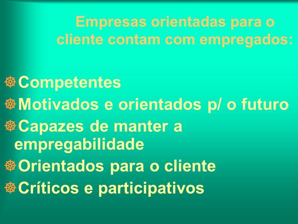Empresas orientadas para o cliente contam com empregados: ]Competentes ]Motivados e orientados p/ o futuro ]Capazes de manter a empregabilidade ]Orien