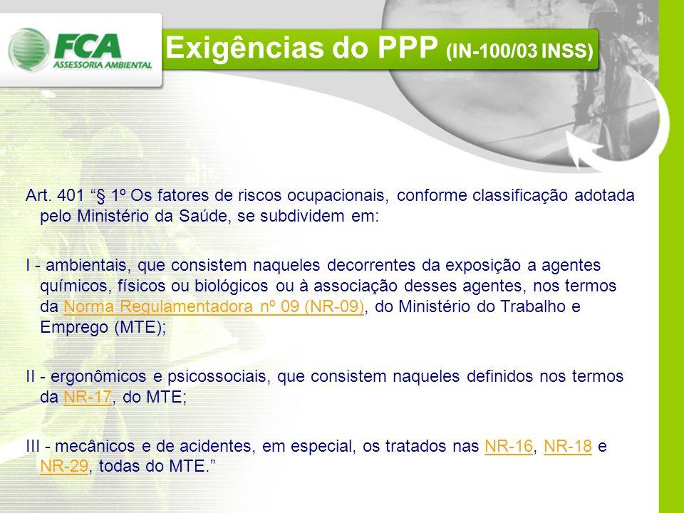 Perfil Profissiográfico Previdenciário PPPLTCATPCMSOPPRA IN-100/03 INSS Art. 403. A empresa deverá demonstrar que gerencia adequadamente o ambiente de