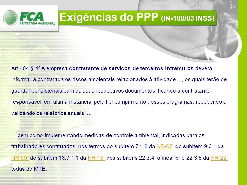 Exigências do PPP (IN-100/03 INSS) Art. 408. A empresa ou a equiparada deve elaborar e manter atualizado o PPP, que será exigido a partir de janeiro d