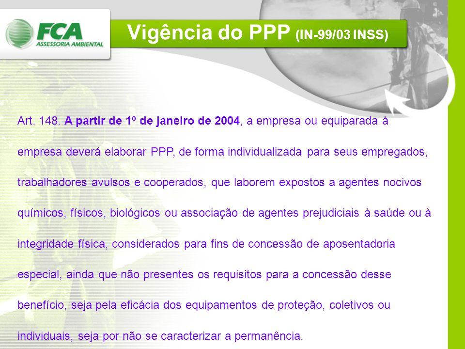 Vigência do PPP (IN-99/03 INSS) Art.148.
