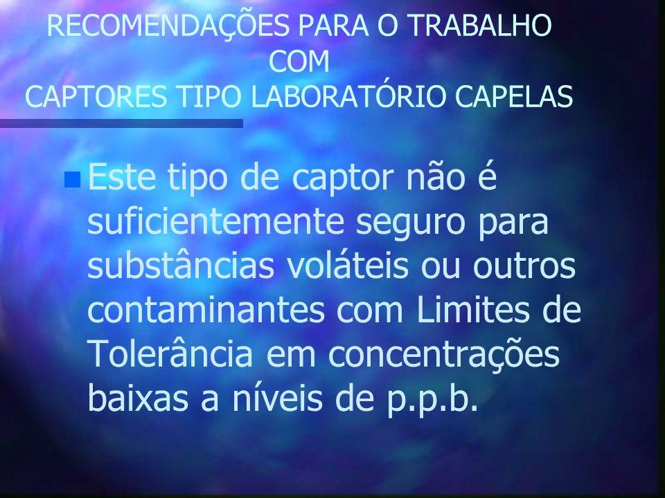 RECOMENDAÇÕES PARA O TRABALHO COM CAPTORES TIPO LABORATÓRIO CAPELAS n n Este tipo de captor não é suficientemente seguro para substâncias voláteis ou