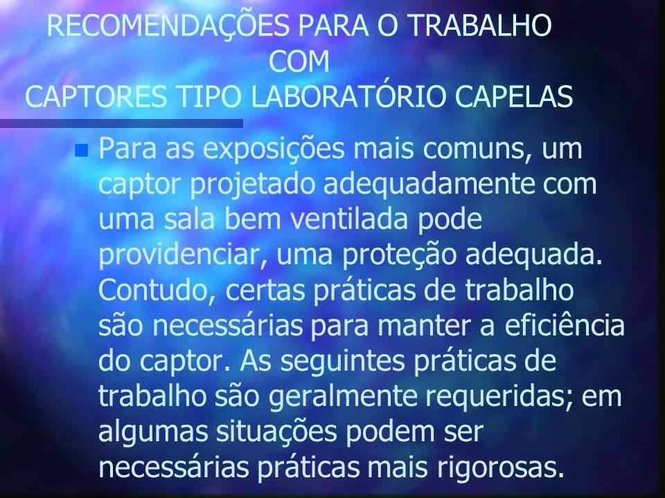 RECOMENDAÇÕES PARA O TRABALHO COM CAPTORES TIPO LABORATÓRIO CAPELAS n n Para as exposições mais comuns, um captor projetado adequadamente com uma sala