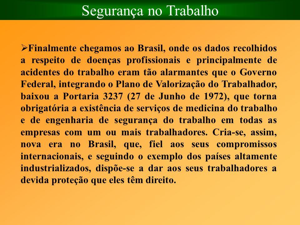 Segurança no Trabalho Finalmente chegamos ao Brasil, onde os dados recolhidos a respeito de doenças profissionais e principalmente de acidentes do tra
