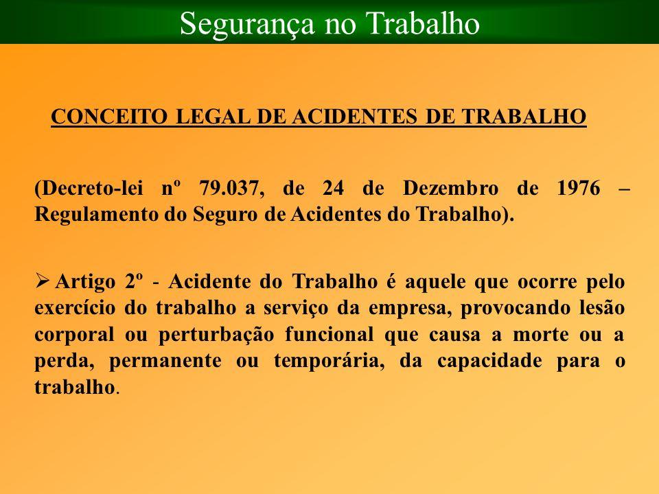 Segurança no Trabalho CONCEITO LEGAL DE ACIDENTES DE TRABALHO (Decreto-lei nº 79.037, de 24 de Dezembro de 1976 – Regulamento do Seguro de Acidentes d