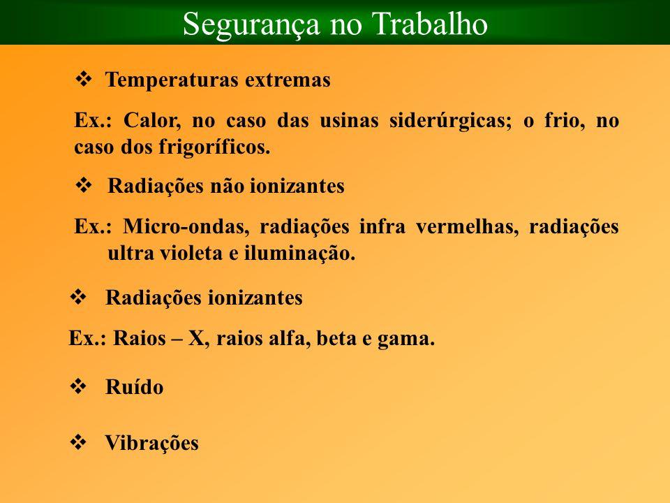 Segurança no Trabalho Temperaturas extremas Ex.: Calor, no caso das usinas siderúrgicas; o frio, no caso dos frigoríficos. Radiações não ionizantes Ex