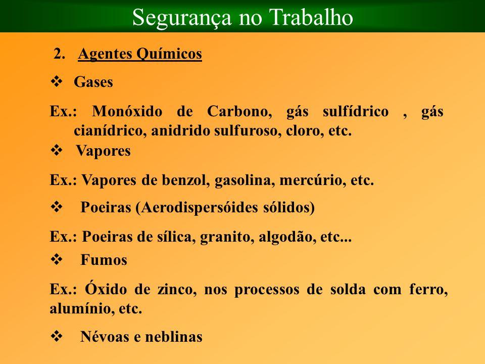 Segurança no Trabalho 2.Agentes Químicos Gases Ex.: Monóxido de Carbono, gás sulfídrico, gás cianídrico, anidrido sulfuroso, cloro, etc. Vapores Ex.: