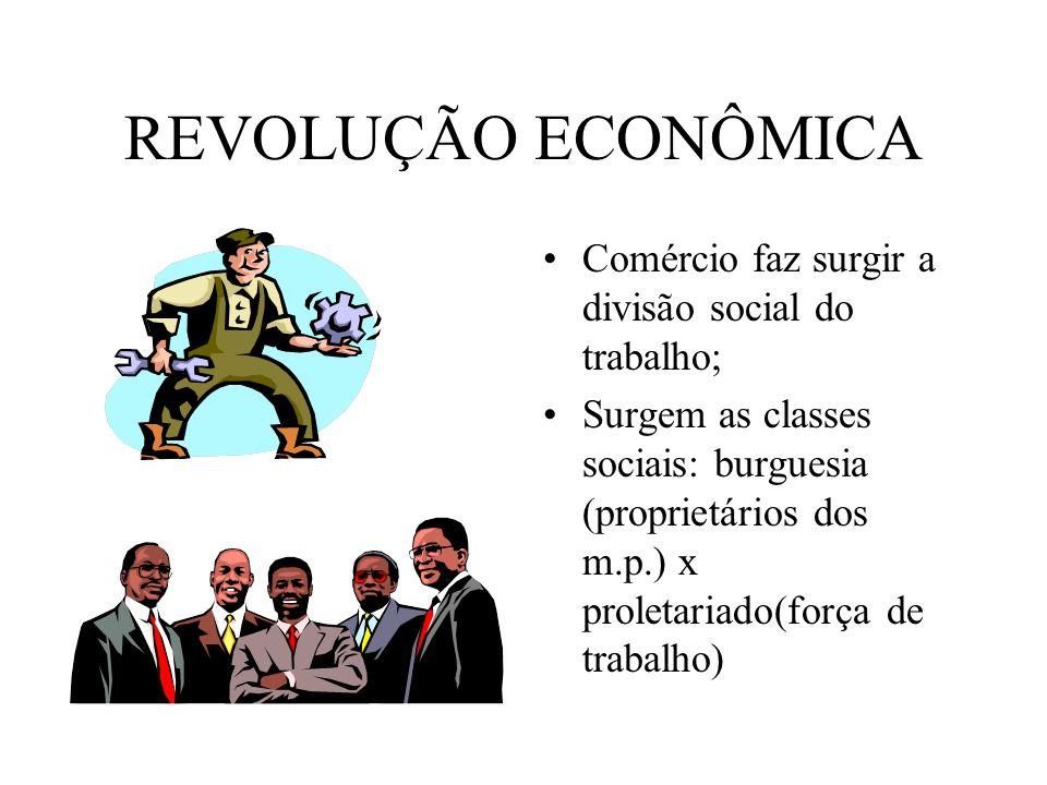 Revolução Política Nobreza feudal perde seu domínio para a classe economicamente mais forte: política será organizada pelos empresários e industriais; Nasce o Estado Moderno e a Democracia Burguesa; Divisão dos poderes: Executivo, Legislativo e Judiciário (Montesquieu);