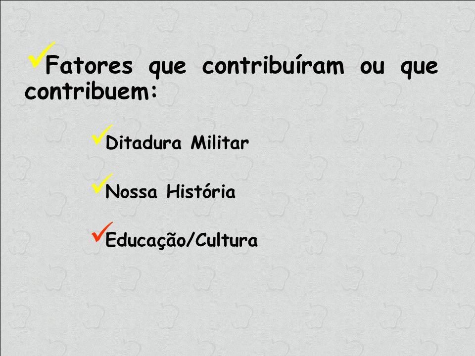 Fatores que contribuíram ou que contribuem: Ditadura Militar Nossa História Educação/Cultura