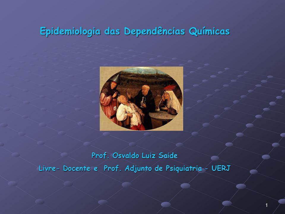 1 Epidemiologia das Dependências Químicas Prof. Osvaldo Luiz Saide Livre- Docente e Prof. Adjunto de Psiquiatria - UERJ