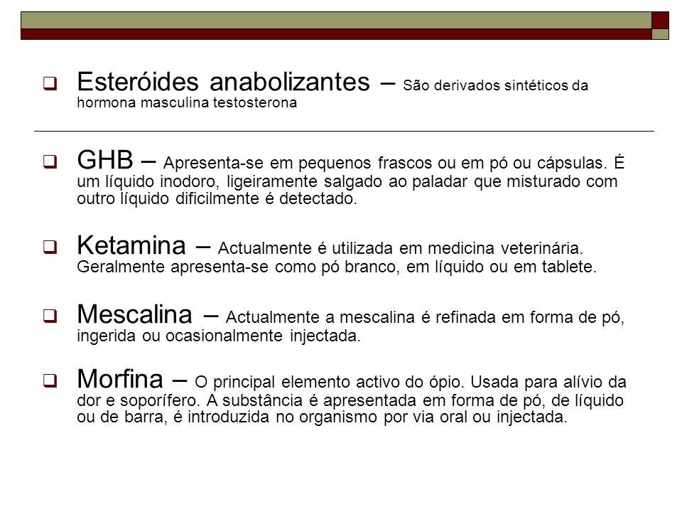 Esteróides anabolizantes – São derivados sintéticos da hormona masculina testosterona GHB – Apresenta-se em pequenos frascos ou em pó ou cápsulas. É u