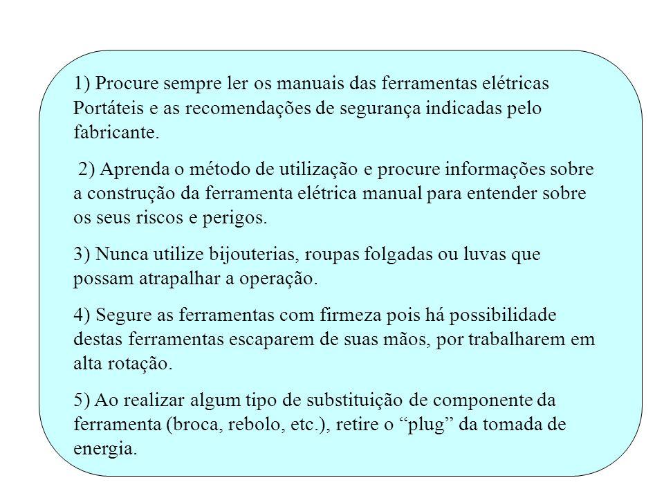 1) Procure sempre ler os manuais das ferramentas elétricas Portáteis e as recomendações de segurança indicadas pelo fabricante. 2) Aprenda o método de