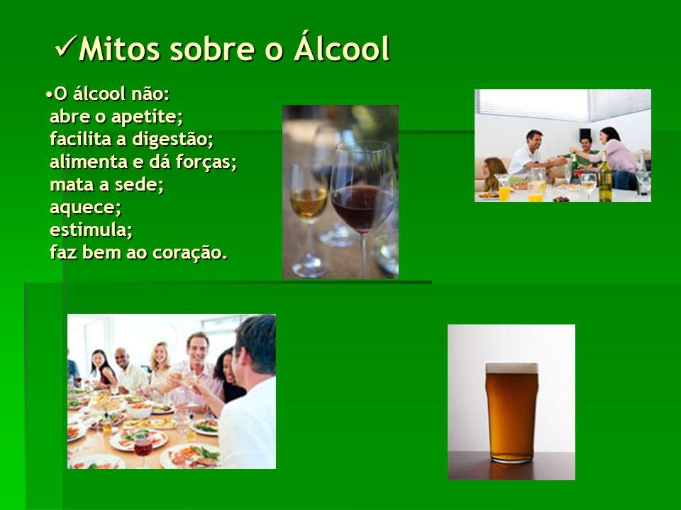 Mitos sobre o Álcool Mitos sobre o Álcool O álcool não: abre o apetite; facilita a digestão; alimenta e dá forças; mata a sede; aquece; estimula; faz bem ao coração.O álcool não: abre o apetite; facilita a digestão; alimenta e dá forças; mata a sede; aquece; estimula; faz bem ao coração.
