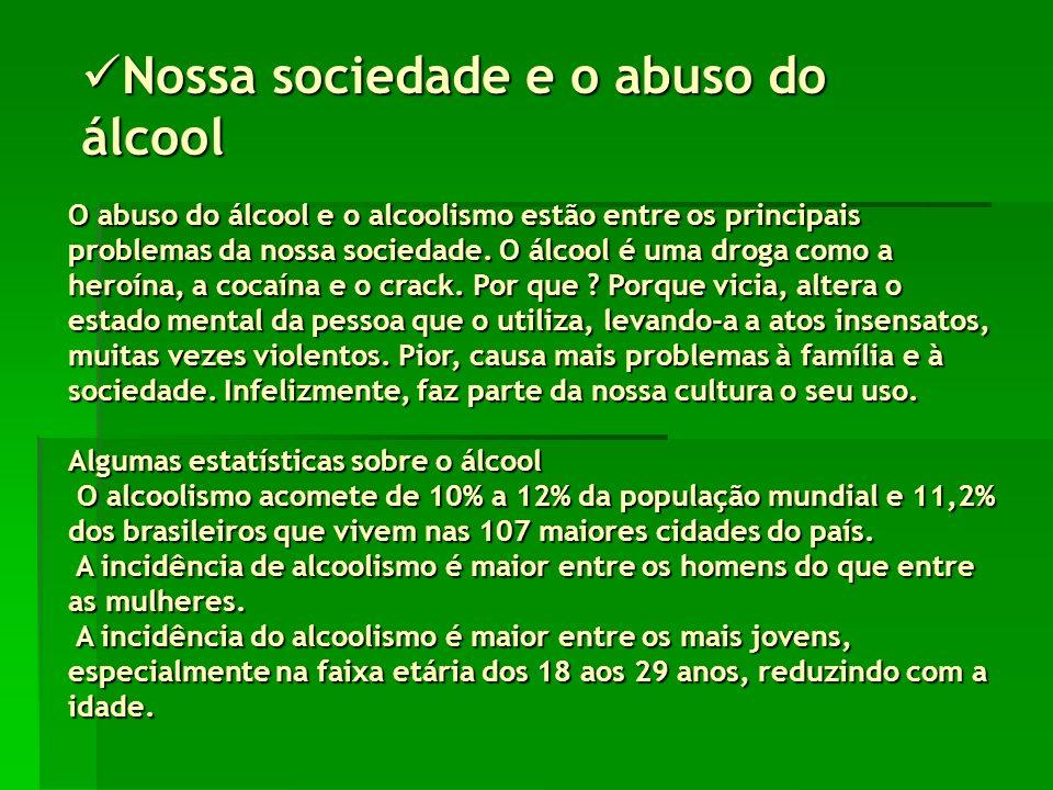 Nossa sociedade e o abuso do álcool Nossa sociedade e o abuso do álcool O abuso do álcool e o alcoolismo estão entre os principais problemas da nossa sociedade.