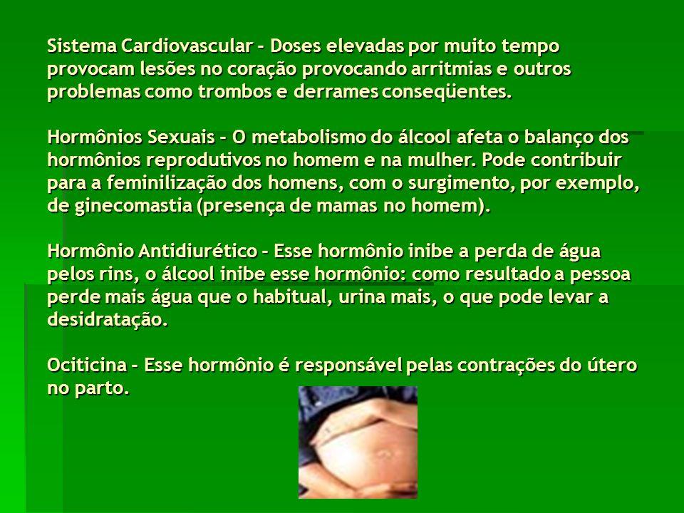 Sistema Cardiovascular - Doses elevadas por muito tempo provocam lesões no coração provocando arritmias e outros problemas como trombos e derrames conseqüentes.