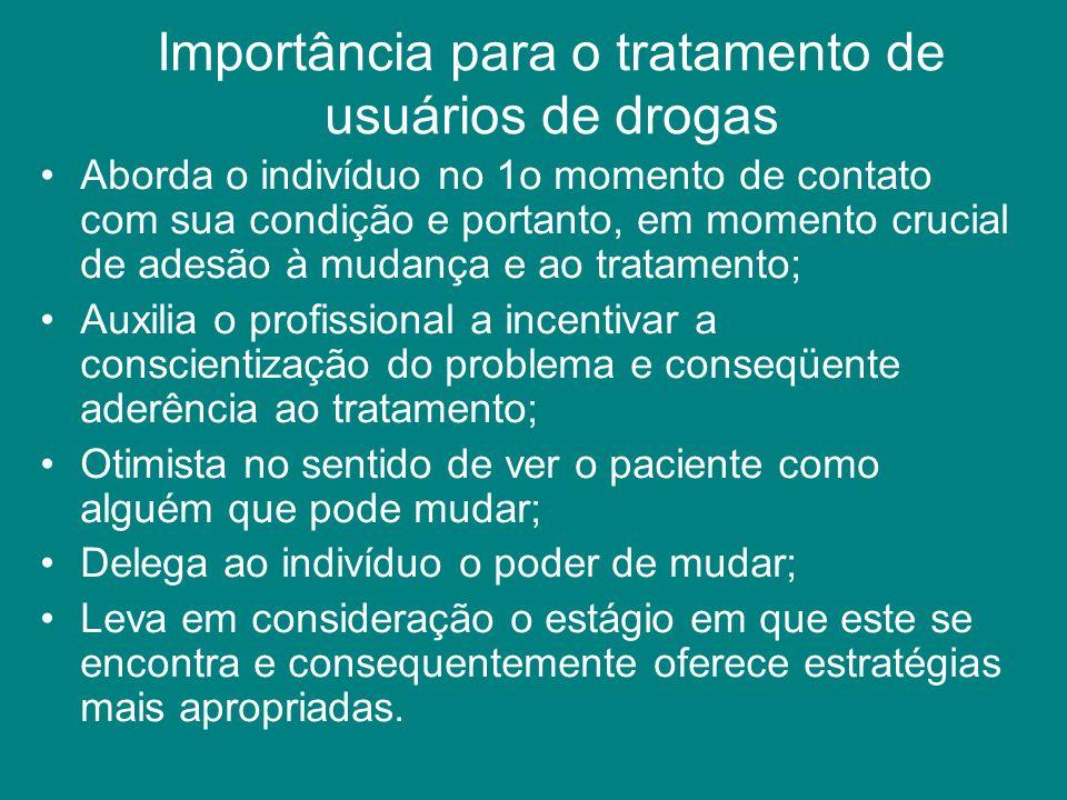 Importância para o tratamento de usuários de drogas Aborda o indivíduo no 1o momento de contato com sua condição e portanto, em momento crucial de ade