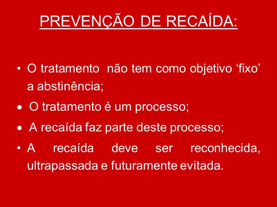 PREVENÇÃO DE RECAÍDA: O tratamento não tem como objetivo fixo a abstinência; O tratamento é um processo; A recaída faz parte deste processo; A recaída