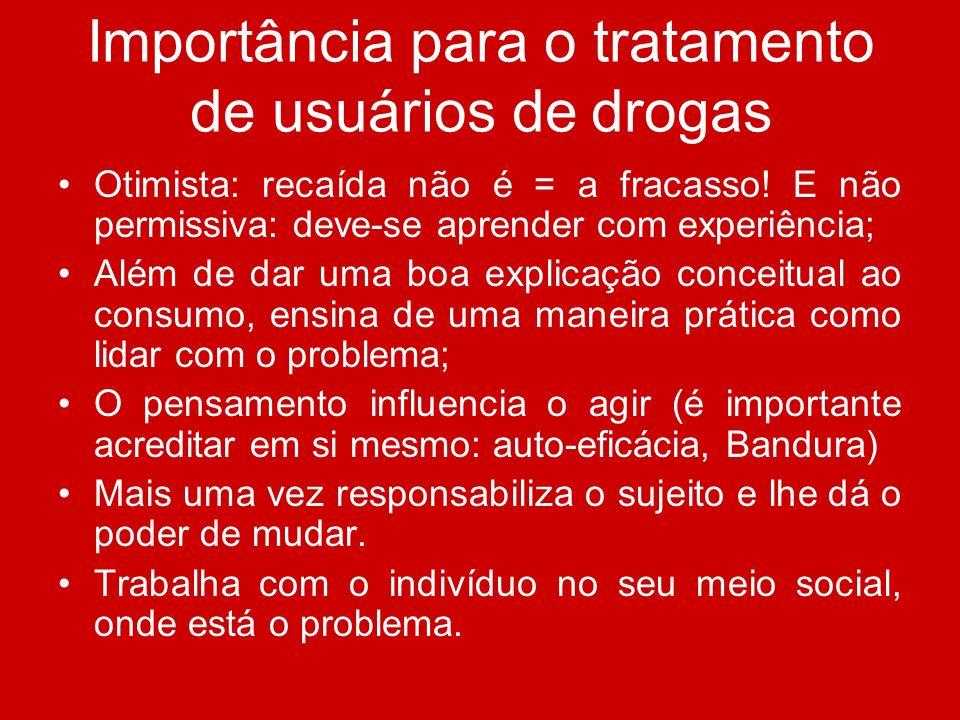 Importância para o tratamento de usuários de drogas Otimista: recaída não é = a fracasso! E não permissiva: deve-se aprender com experiência; Além de