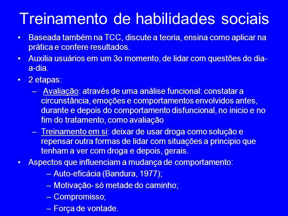 Treinamento de habilidades sociais Baseada também na TCC, discute a teoria, ensina como aplicar na prática e confere resultados. Auxilia usuários em u