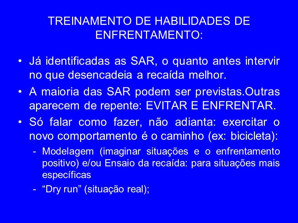 TREINAMENTO DE HABILIDADES DE ENFRENTAMENTO: Já identificadas as SAR, o quanto antes intervir no que desencadeia a recaída melhor. A maioria das SAR p