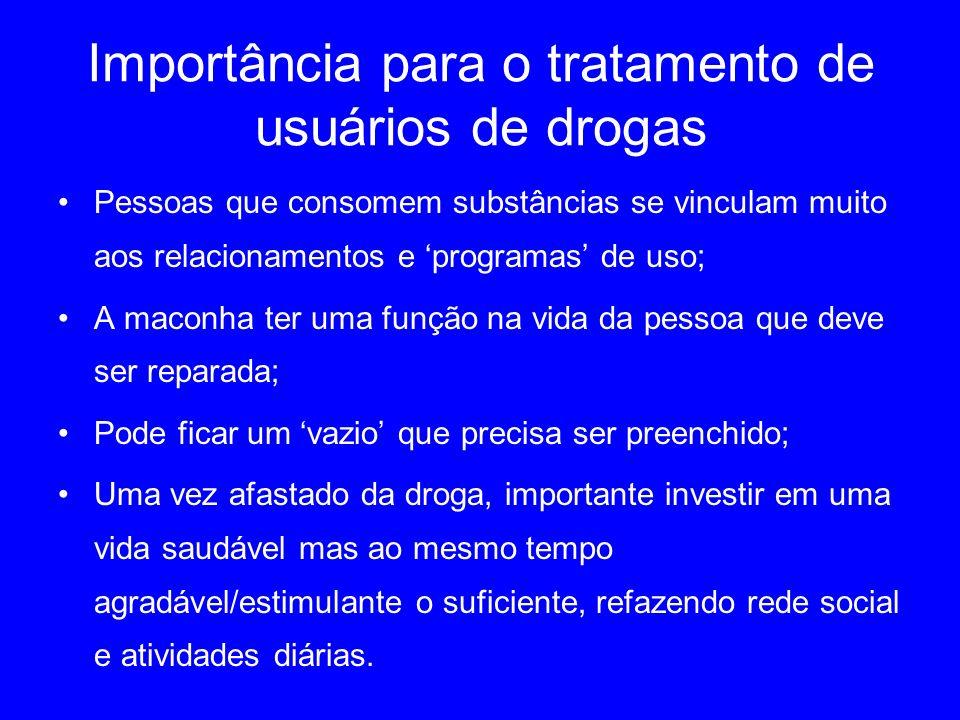 Importância para o tratamento de usuários de drogas Pessoas que consomem substâncias se vinculam muito aos relacionamentos e programas de uso; A macon