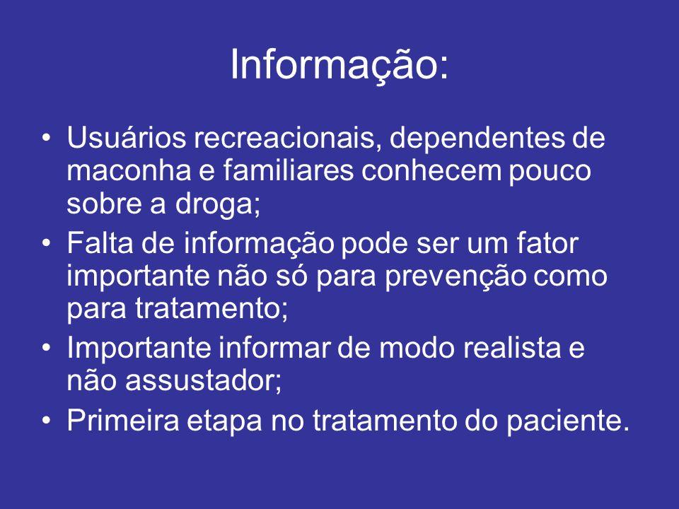 Informação: Usuários recreacionais, dependentes de maconha e familiares conhecem pouco sobre a droga; Falta de informação pode ser um fator importante