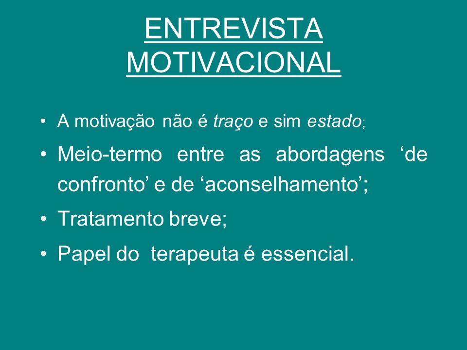 ENTREVISTA MOTIVACIONAL A motivação não é traço e sim estado ; Meio-termo entre as abordagens de confronto e de aconselhamento; Tratamento breve; Pape