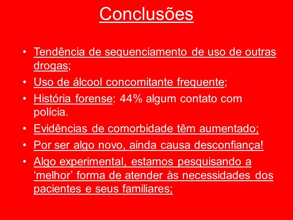 Conclusões Tendência de sequenciamento de uso de outras drogas; Uso de álcool concomitante frequente; História forense: 44% algum contato com polícia.