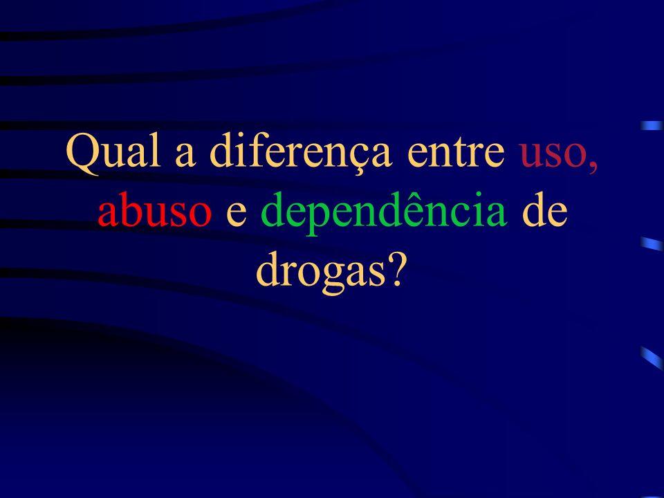 Qual a diferença entre uso, abuso e dependência de drogas?