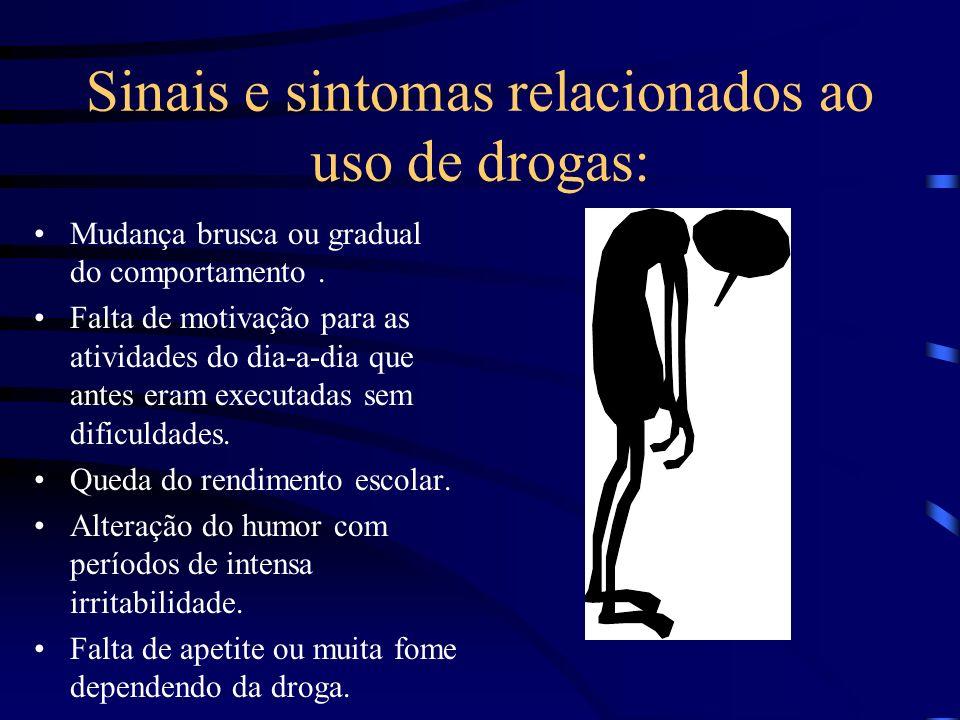Sinais e sintomas relacionados ao uso de drogas: Mudança brusca ou gradual do comportamento.