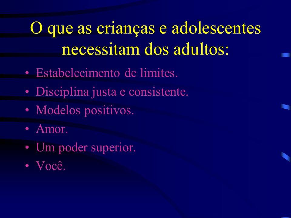 O que as crianças e adolescentes necessitam dos adultos: Estabelecimento de limites.