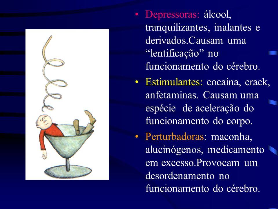 Depressoras: álcool, tranquilizantes, inalantes e derivados.Causam uma lentificação no funcionamento do cérebro.