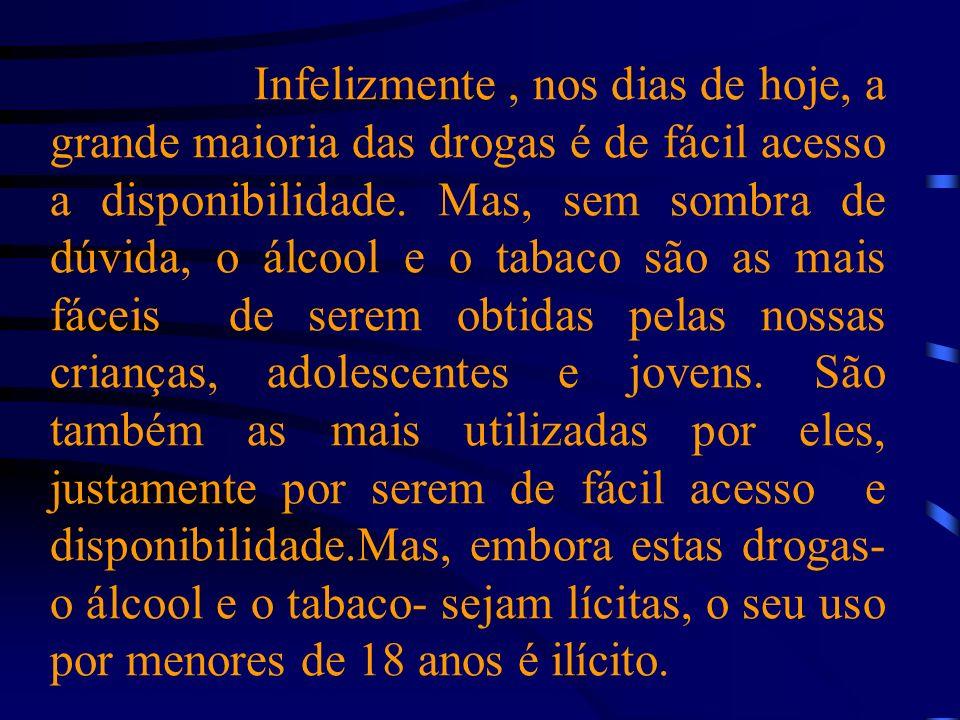 Infelizmente, nos dias de hoje, a grande maioria das drogas é de fácil acesso a disponibilidade.
