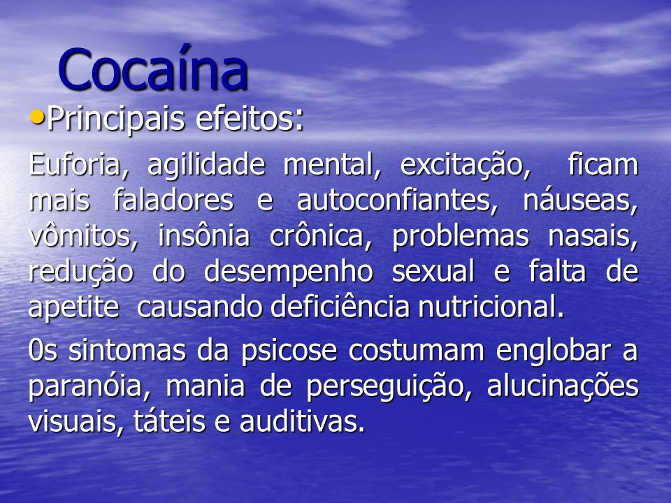 Cocaína Nome Científico: Erytroxylon Coca Lam Substância: Benzoylmethylecgonine Substância: Benzoylmethylecgonine Extraída das folhas coca ou epadú, a