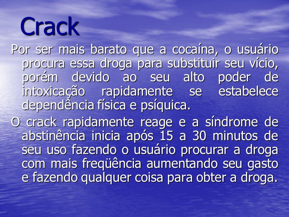 Crack Substância: Cloridrato de cocaína, bicarbonato de sódio,e água destilada. O Crack leva 15 segundos para chegar ao cérebro e já começa a produzir