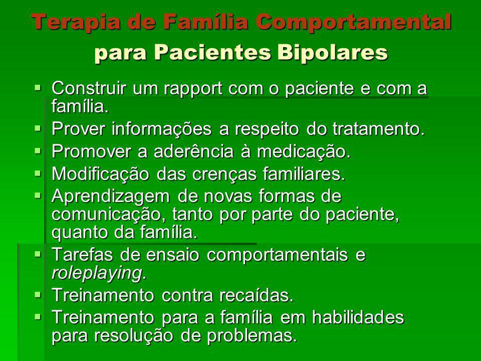 Terapia de Família Comportamental para Pacientes Bipolares Construir um rapport com o paciente e com a família. Construir um rapport com o paciente e