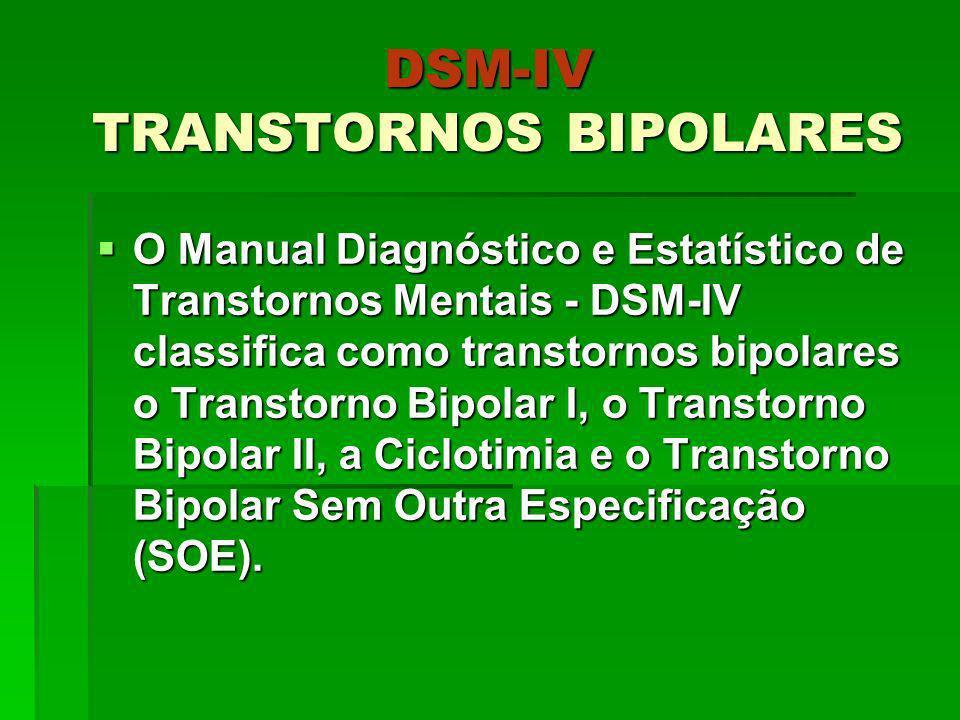 DSM-IV TRANSTORNOS BIPOLARES O Manual Diagnóstico e Estatístico de Transtornos Mentais - DSM-IV classifica como transtornos bipolares o Transtorno Bip