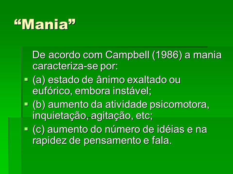Mania De acordo com Campbell (1986) a mania caracteriza-se por: De acordo com Campbell (1986) a mania caracteriza-se por: (a) estado de ânimo exaltado