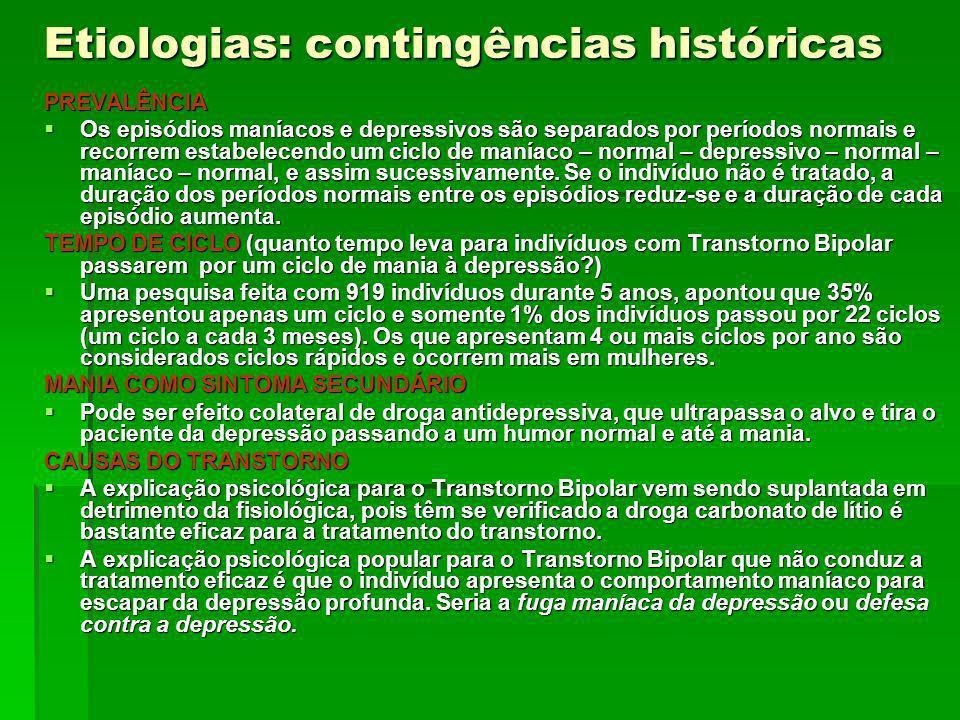 Etiologias: contingências históricas PREVALÊNCIA Os episódios maníacos e depressivos são separados por períodos normais e recorrem estabelecendo um ci