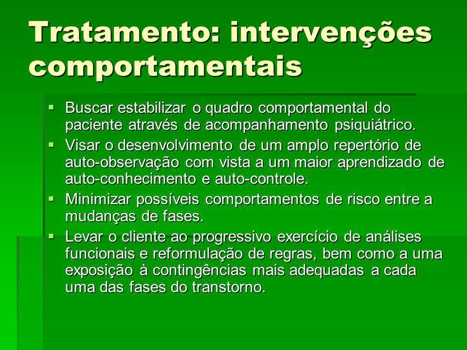 Tratamento: intervenções comportamentais Buscar estabilizar o quadro comportamental do paciente através de acompanhamento psiquiátrico. Buscar estabil