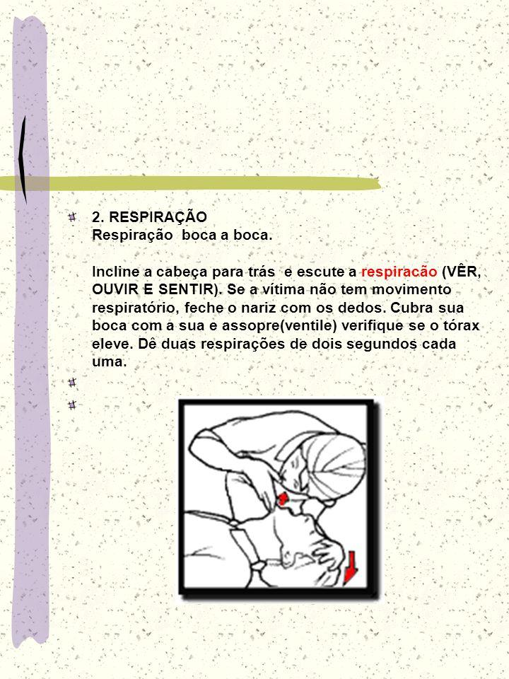 2. RESPIRAÇÃO Respiração boca a boca. Incline a cabeça para trás e escute a respiracão (VÊR, OUVIR E SENTIR). Se a vítima não tem movimento respiratór