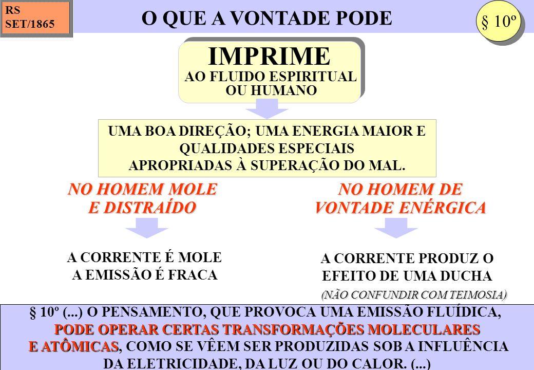 O QUE A VONTADE PODE RS SET/1865 § 10º (...) O PENSAMENTO, QUE PROVOCA UMA EMISSÃO FLUÍDICA, PODE OPERAR CERTAS TRANSFORMAÇÕES MOLECULARES E ATÔMICAS
