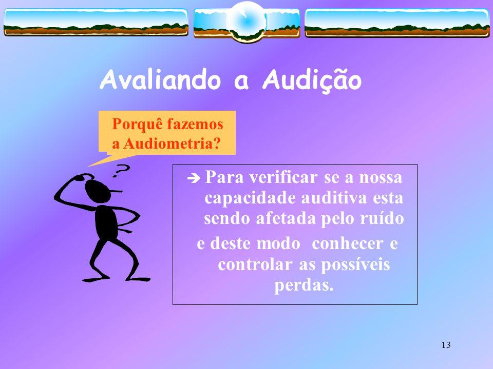 13 Avaliando a Audição Para verificar se a nossa capacidade auditiva esta sendo afetada pelo ruído e deste modo conhecer e controlar as possíveis perd