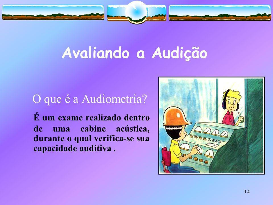 14 Avaliando a Audição O que é a Audiometria? É um exame realizado dentro de uma cabine acústica, durante o qual verifica-se sua capacidade auditiva.