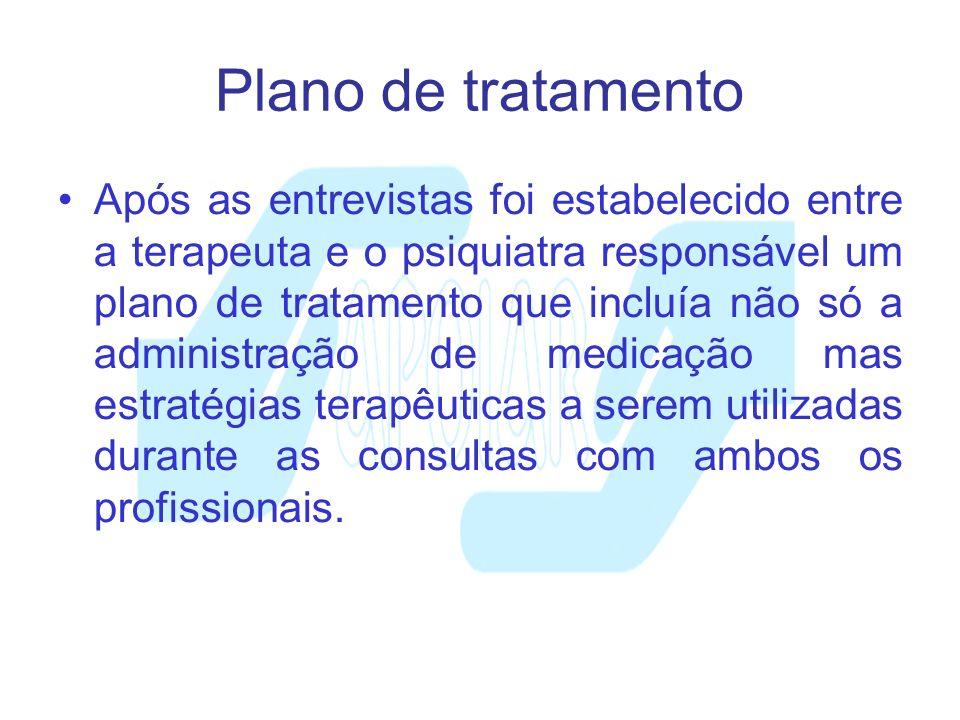 Plano de tratamento Após as entrevistas foi estabelecido entre a terapeuta e o psiquiatra responsável um plano de tratamento que incluía não só a admi
