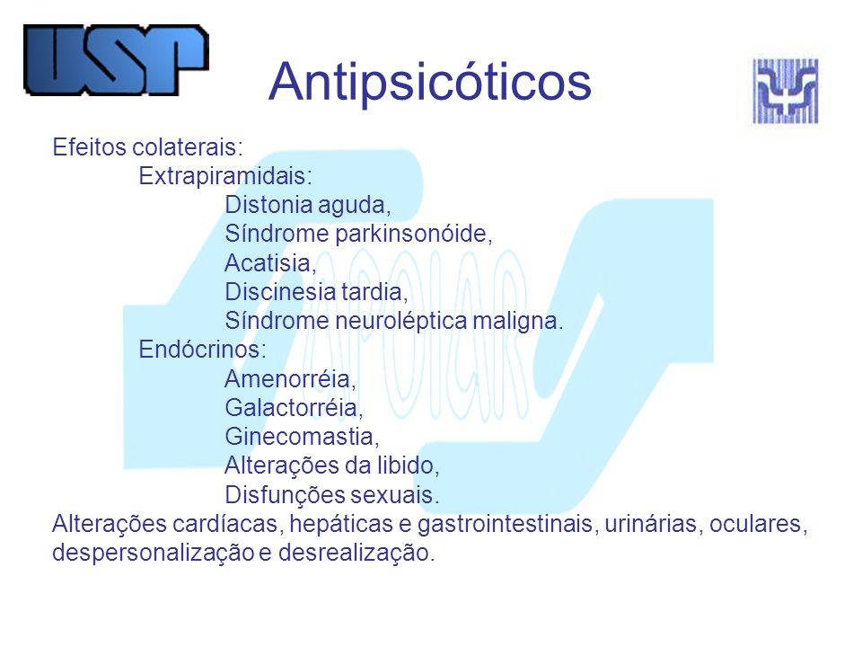 Antipsicóticos Típicos (1° geração) Flufenazina (Flufenan ) Haloperidol (Haldol ) Clorpromazina (Amplictil ) Levomepromazina (Neozine ) Pimozida (Orap ) Penfluridol (Semap ) Sulpirida (Equilid ) Tioridazina (Melleril ) Bloqueadores de receptores dopaminérgicos (D1-D4) Atípicos (2° geração) Risperidona (Risperdal ) Olanzapina (Zyprexa ) Ziprazidona (Geodon ) Quetiapina (Seroquel ) Clozapina (Leponex ) Aripiprazol (Abylif·) - 3° geração.